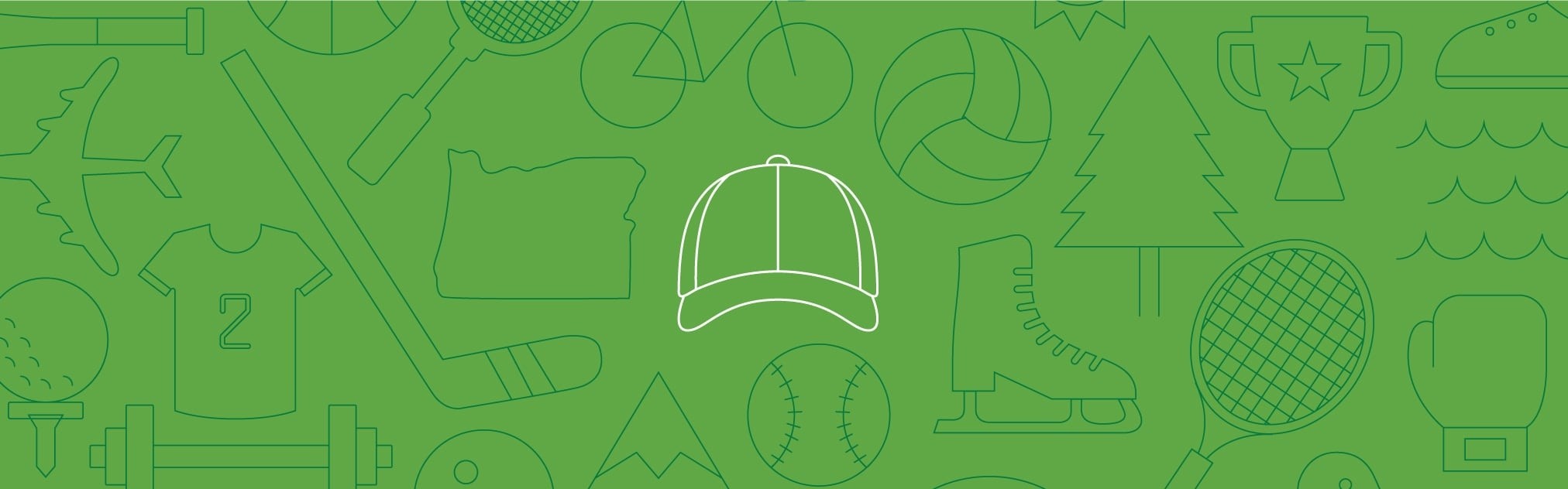 Line art of sports-related icons against green background