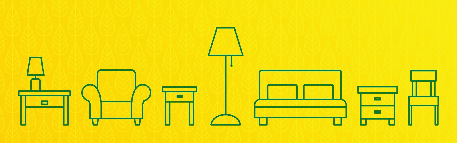 Green lineart of furniture against a yellow patterned background
