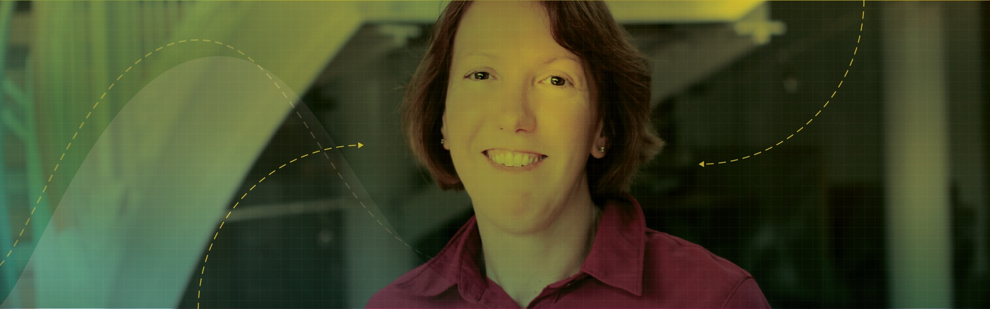 Illustration photo of Associate Professor Anne Parmigiani with a green and yellow cover overlay, grig overlay, and some arrows