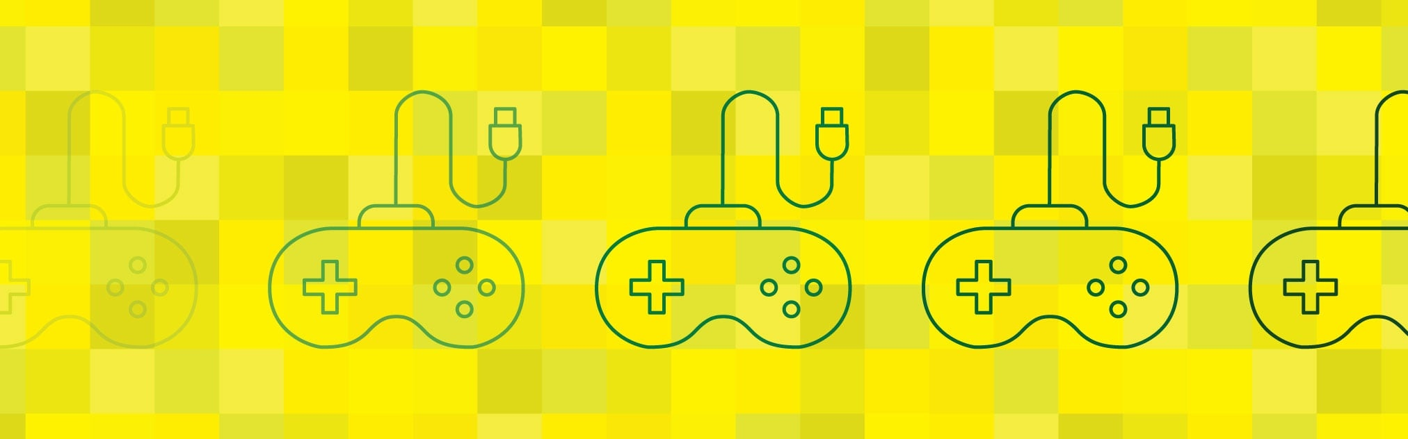 Illustration of eSports showing video game controllers on a yellow background