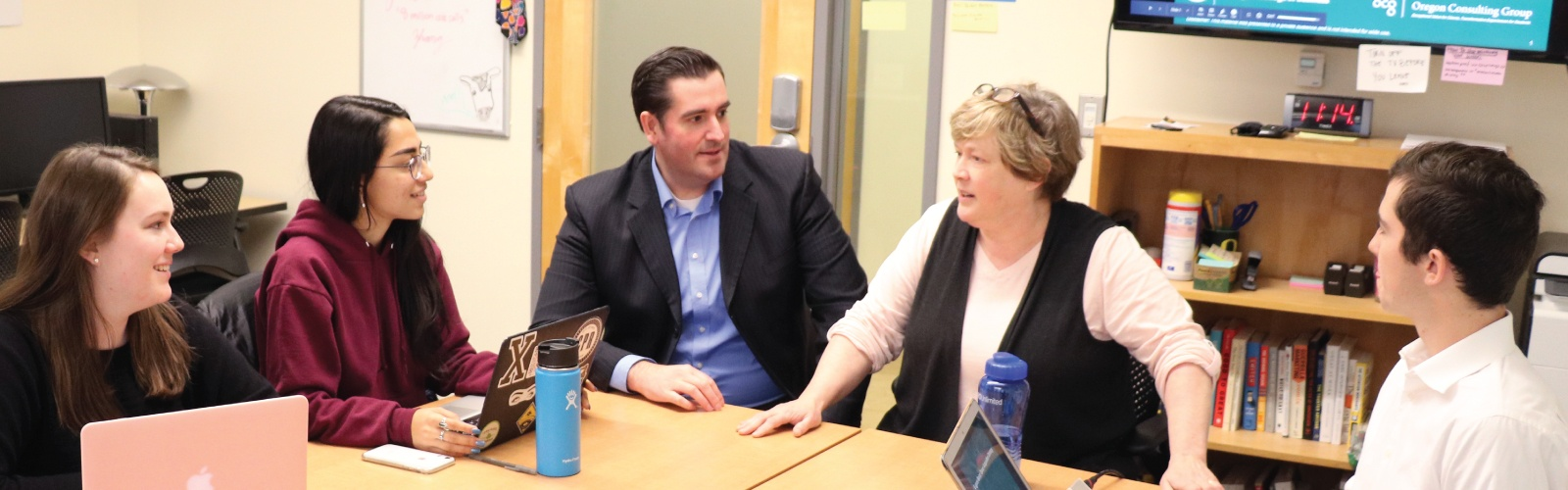Jared Barlow and Collette Niland chat with students