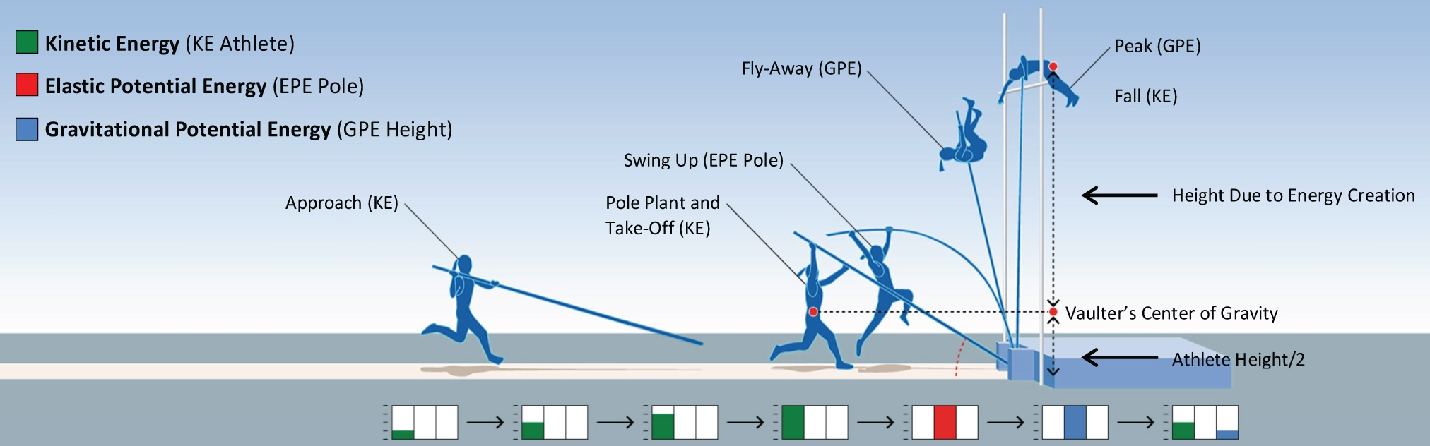 Graph of a pole vaulter ascending