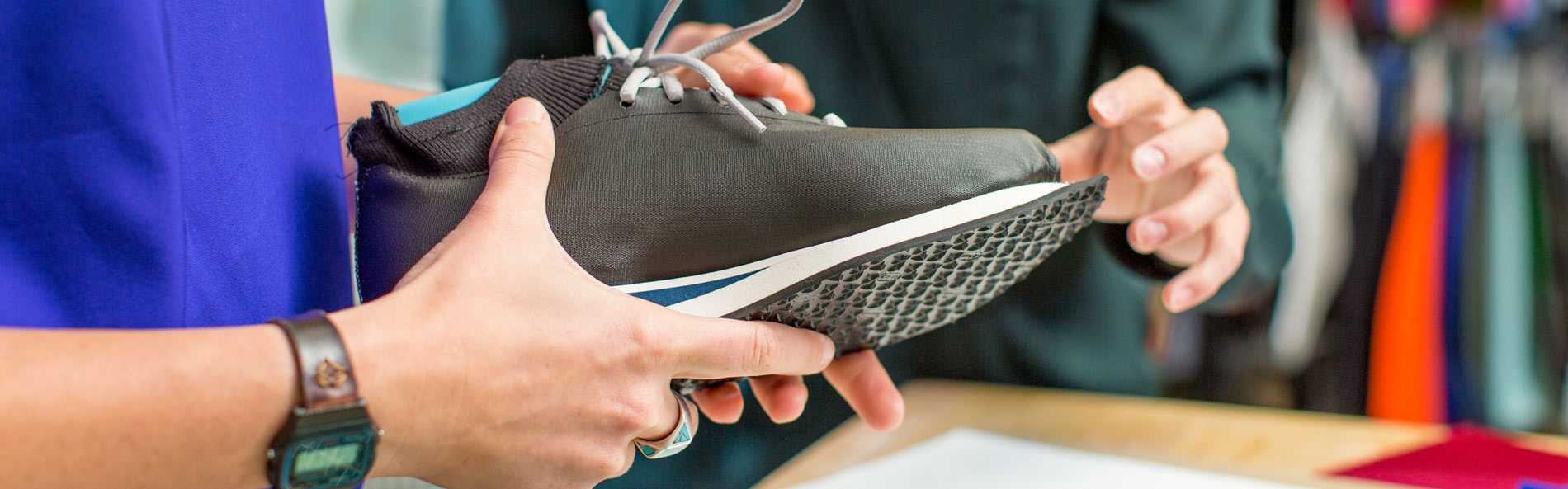 SPM students work on a shoe design