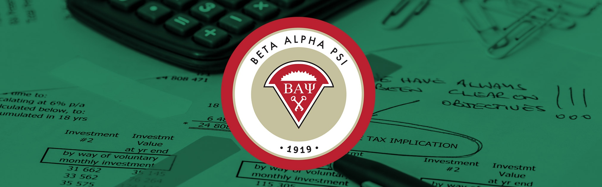 BAP logo against background of tax paperwork
