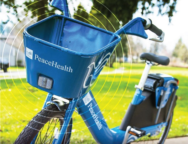 Close up photo of a Peacehealth Rides bike