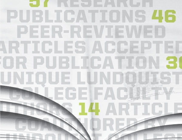 Graphic of repeating text referencing publications against a background of book pages