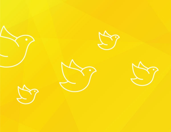 Graphic icon art of birds in white against a yellow background