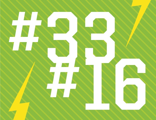 #33 and #16 in white text against a green background, representing our rankings