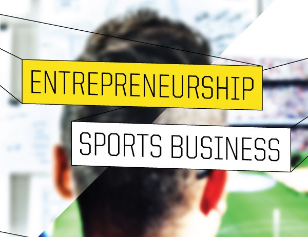 Graphic of entrepreneurship and sports business labels over a background of a person in the stands of a stadium