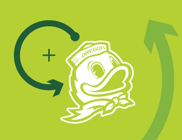 Icon of the UO Duck with lineart arrows against a green background