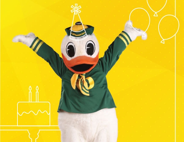 Photo of the Duck against a yellow background with white lineart icons of balloons