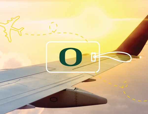 The UO O logo against the background of a plane wing