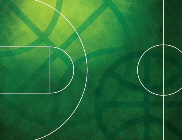 Line drawing of a basketball court in white against a green background