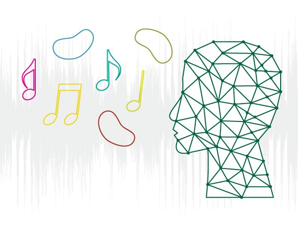 Graphic of jelly beans and music notes