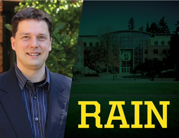 E-news thumbnail image photo of Andrew Nelson with text RAIN