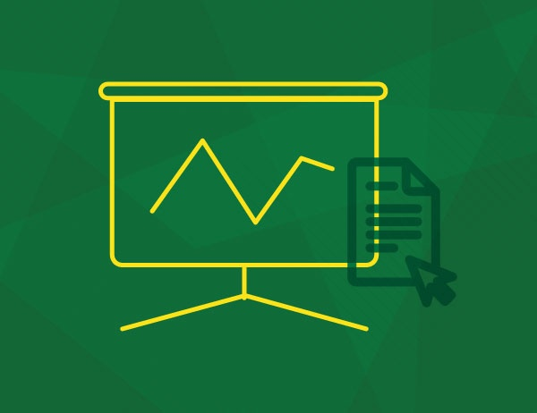 Line art icon of a chart against a green background