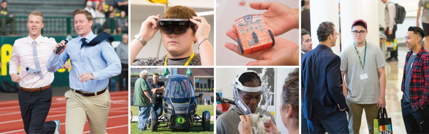 Students participating in Innovation Day events, including QuackTrackPitch and exploring labs around campus