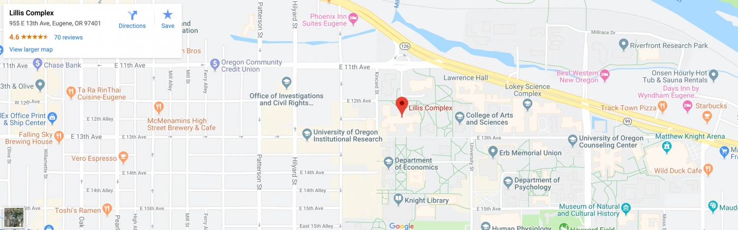 Google Map screenshot showing a map of Eugene with the location of the Lillis Business Complex highlighted