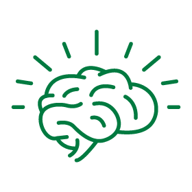 Icon illustration for innovation and entrepreneurship showing a brain with ideas