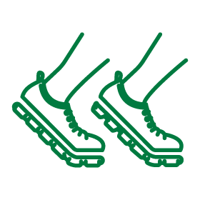 Icon illustration for sports business showing a line drawing for shoes running