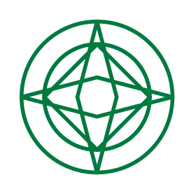 Icon illustration for advanced strategy and leadership showing a circle with a square and a diamond in side to represent the bringing together of disciplines