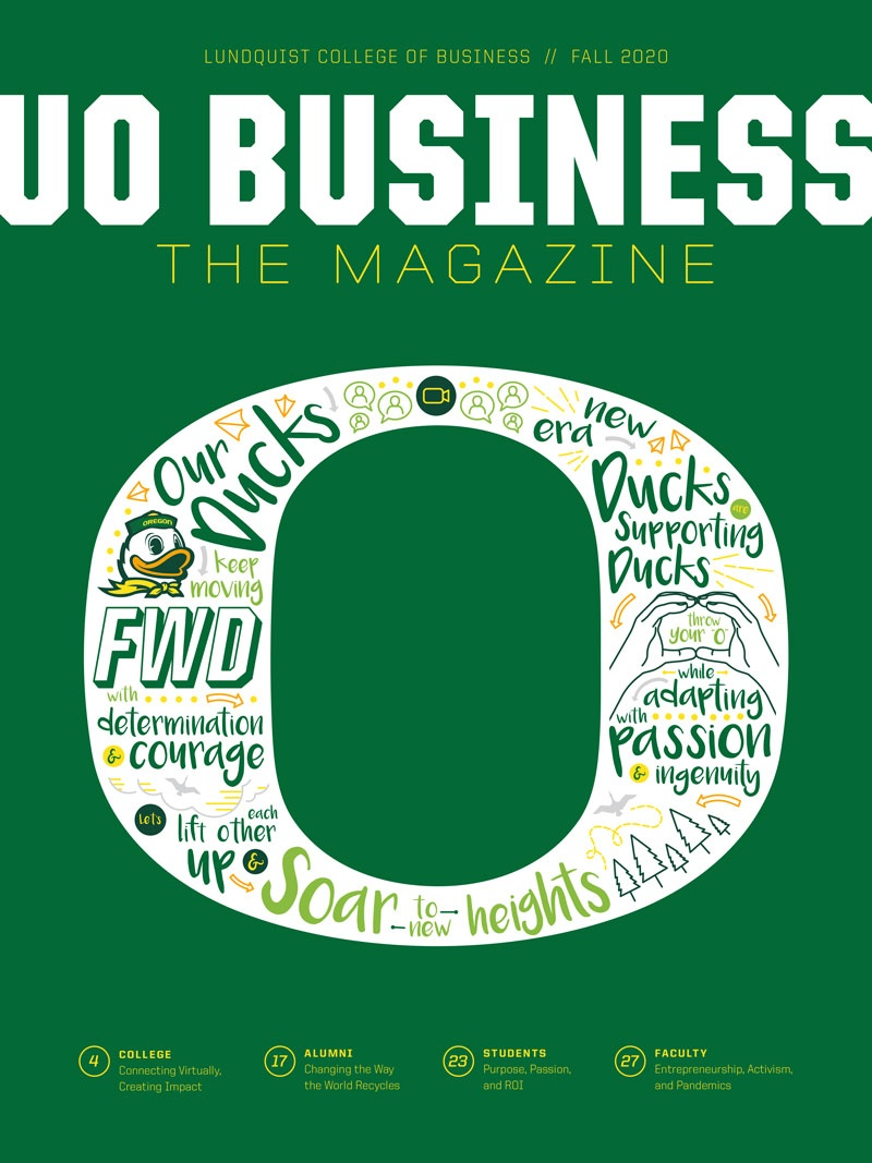 Cover of the fall 2020 edition of UO Business The Magazine