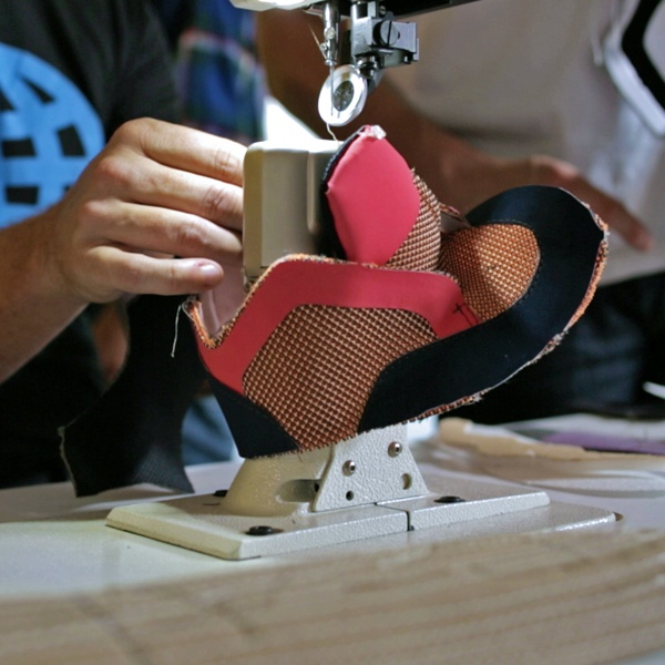 Shoe being made in the White Stag Innovation Lab