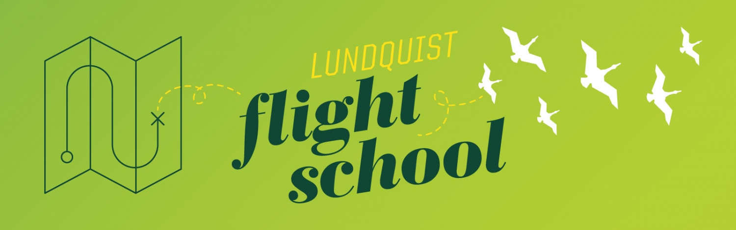 Illustration for the Lundquist Flight School with a map in line art connected via dotted lines to a flock of ducks in flight illustration