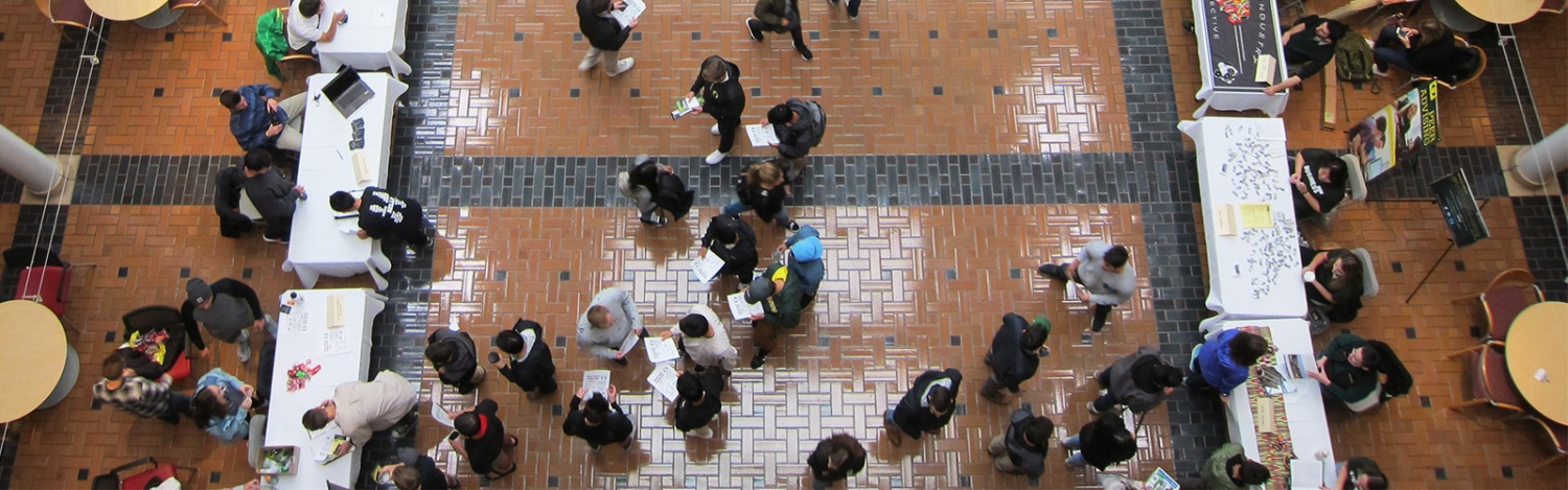 View looking down at club tabling event in the Lillis atrium