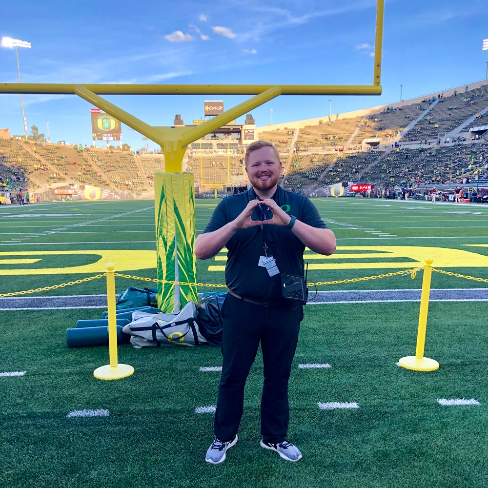 Quinn Van Horne on the field at Autzen Stadium