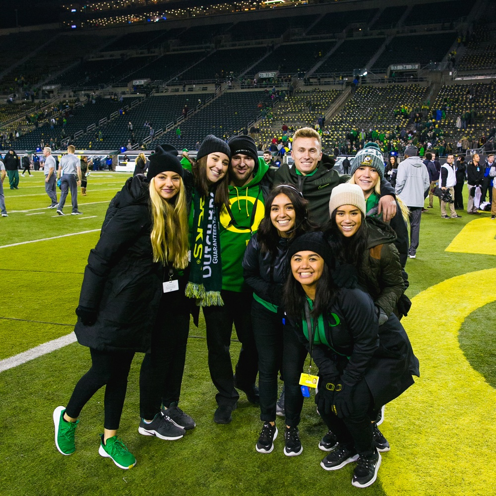 Jordan Wilder and friends on the field at Autzen Stadium