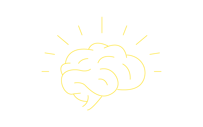 Icon of a brain with lines surrounding illustration in the concept of having a great idea for the innovation and entrepreneurship specialization