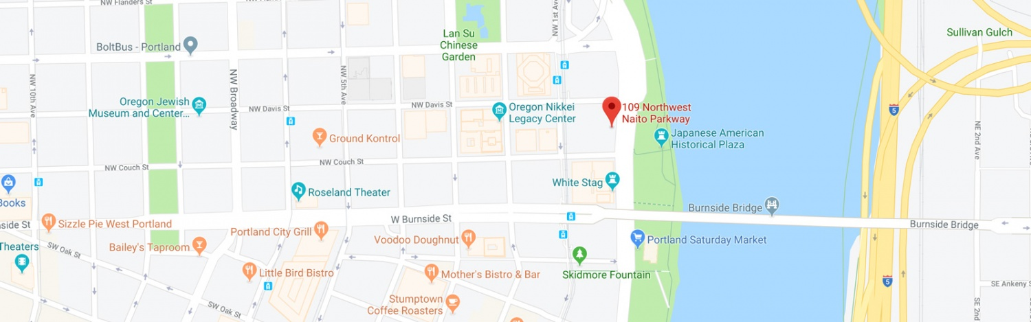 Google Map screenshot showing a map of Portland with the location of the Lundquist College's facility at 109 NW Naito highlighted