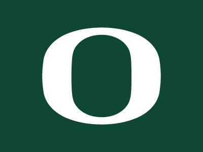 University of Oregon 'O' in white against a dark green background