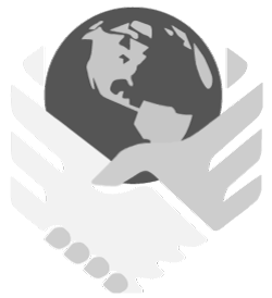 DOBS student club logo showing two hands coming to toghether to shake hands with a globe between them.