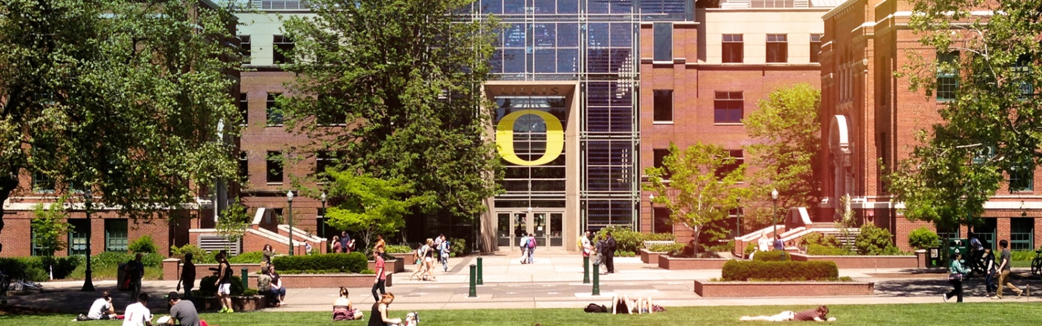 Lillis Business Complex as viewed from the Memorial Quad on the University of Oregon Campus in Summer