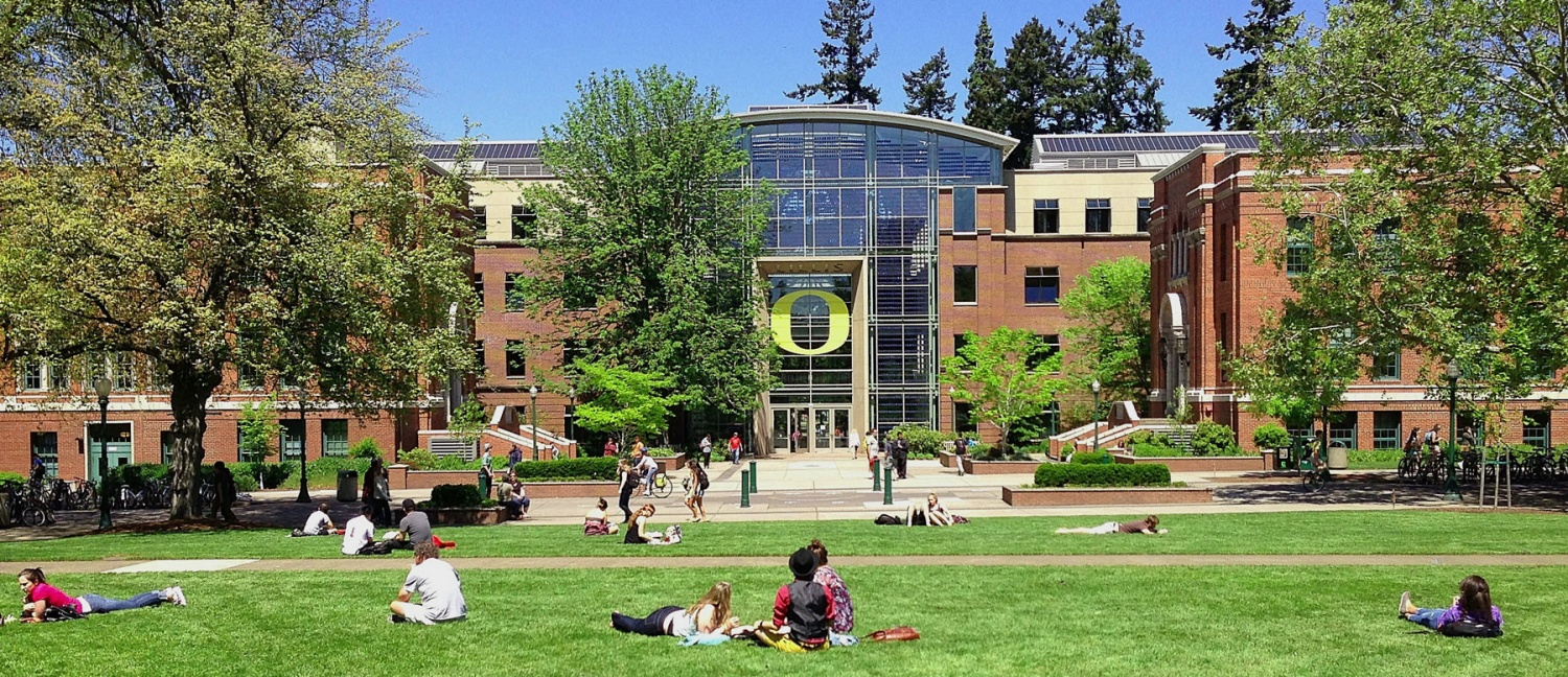 The Lillis Business Complex as viewed from the UO Memorial Quad in Summer