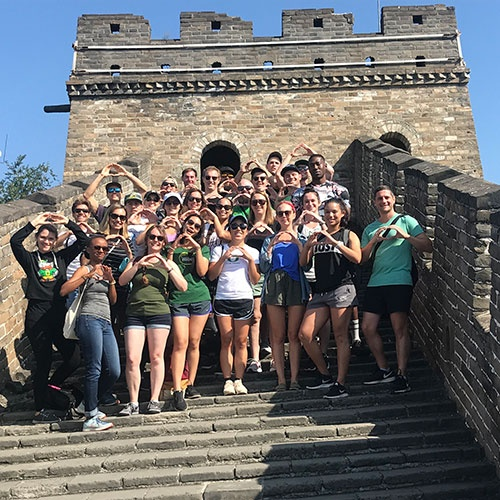 Oregon MBA students on The Great Wall during the annual Engaging Asia study tour