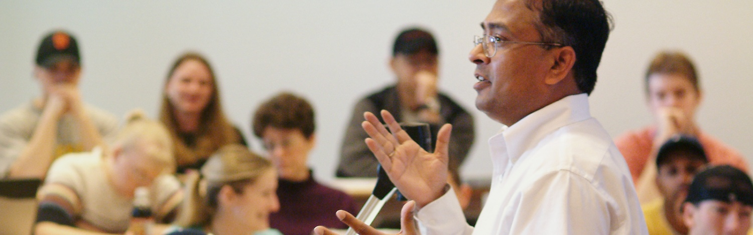 Professor Nagesh Murthy teaches students in the classroom