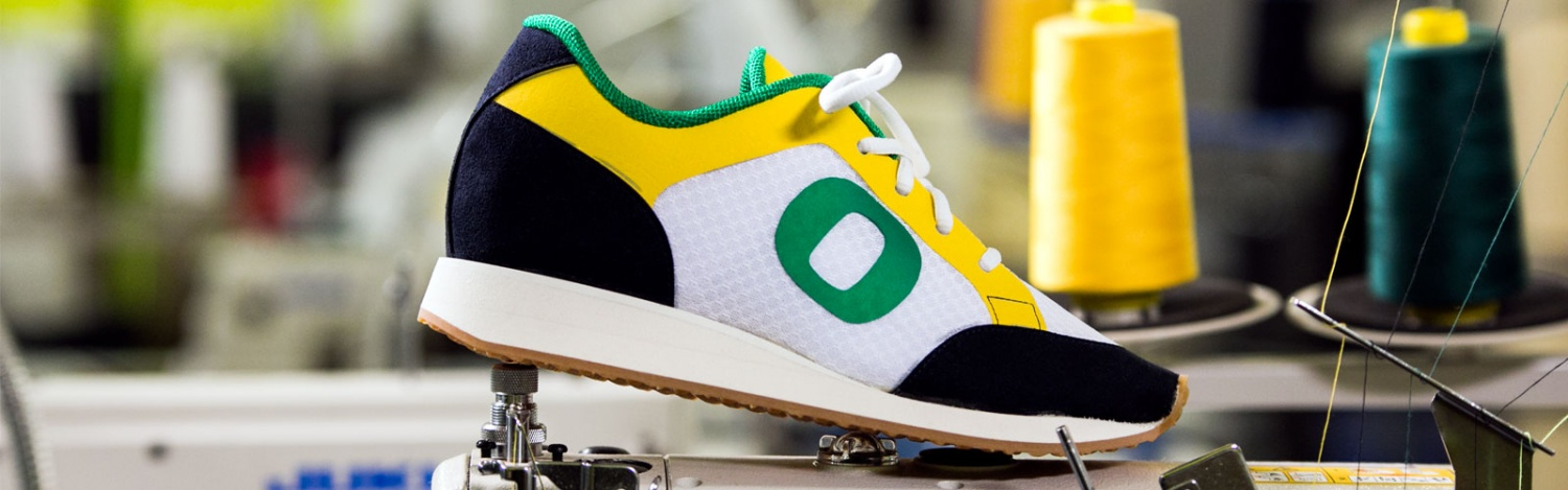 A UO branded shoe made in a Sports Product Management workshop