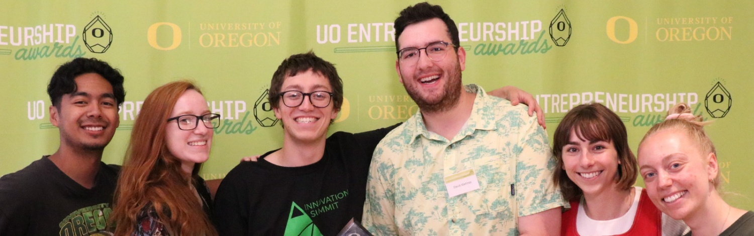 Students pose for a group photo at the first UO Entrepreneurship Awards