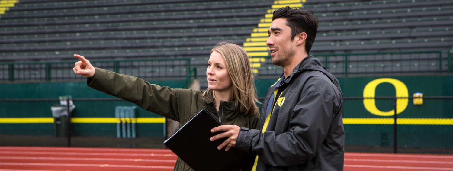 Warsaw Sports Marketing Center students discuss marketing at Hayward Field
