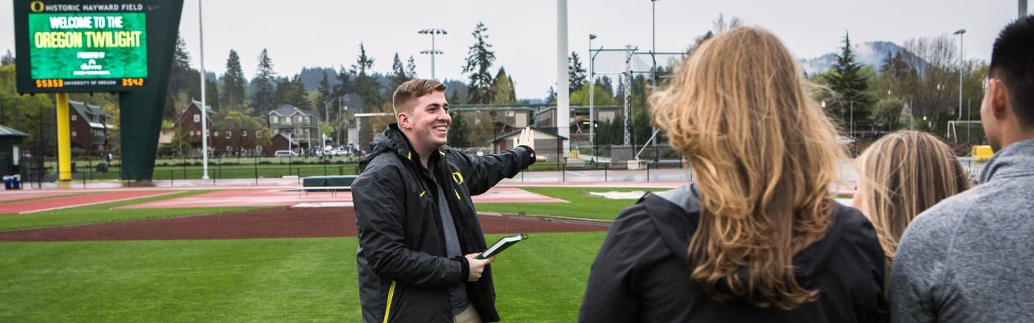 Warsaw Sports Marketing Center students prepare for an event at Hayward Field