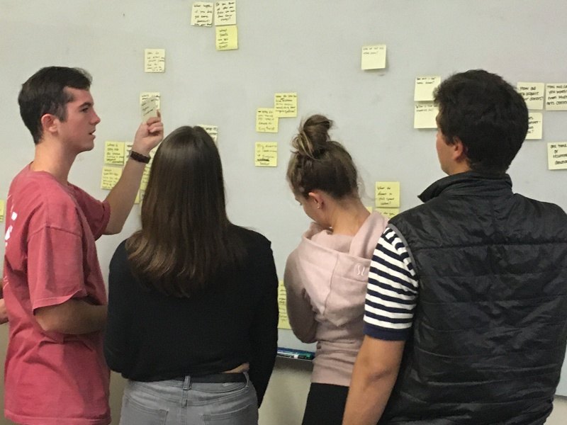 OCG members plan together using post it notes on a white board