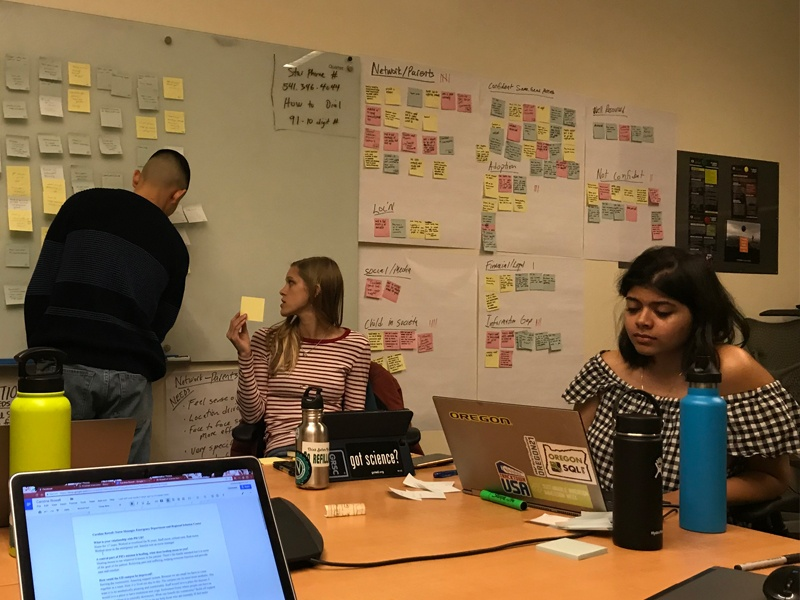 OCG members plan in their office by using post-it notes on the wall