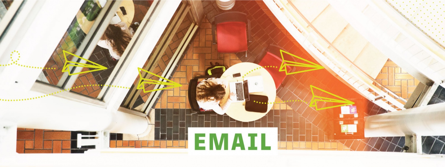 Illustration depicting HTML email services offered by the college communications team via a phtoo looking down on a student on a computer in the Lillis atrium with paper airplane line drawings overlaid.