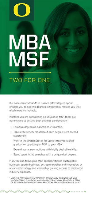 MBA/MSF Concurrent Degree Brochure