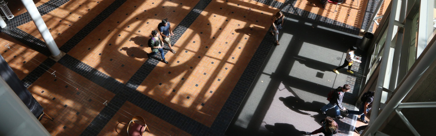 A photograph looking down at the Lillis atrium interior