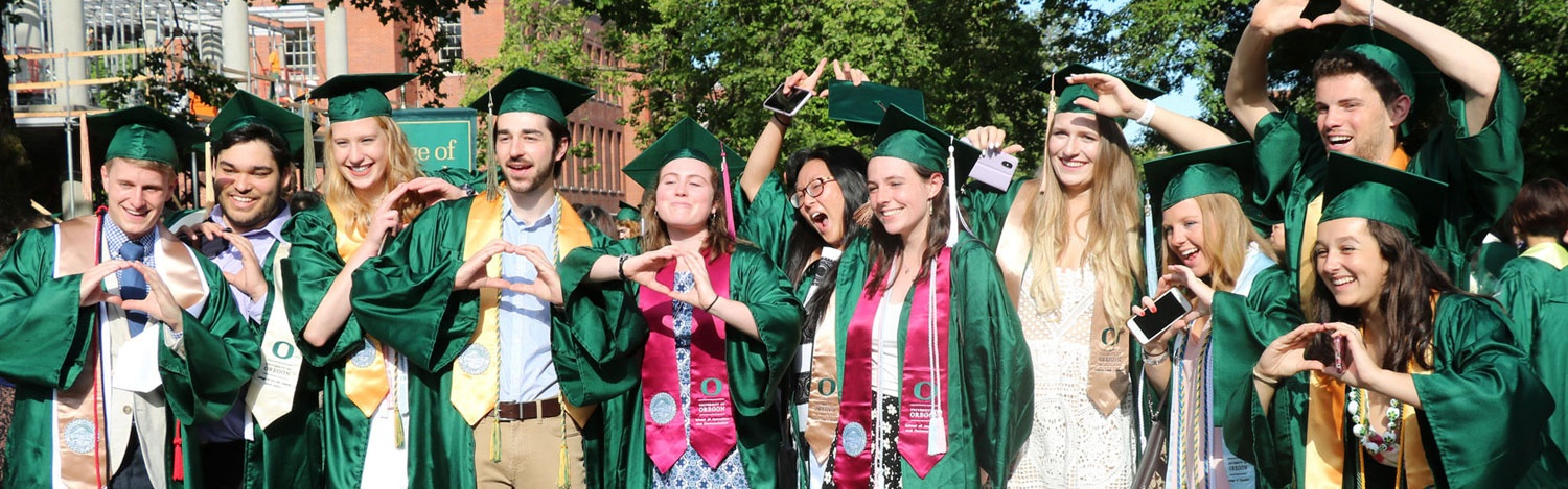 Students line up for a photo during the commencement parade
