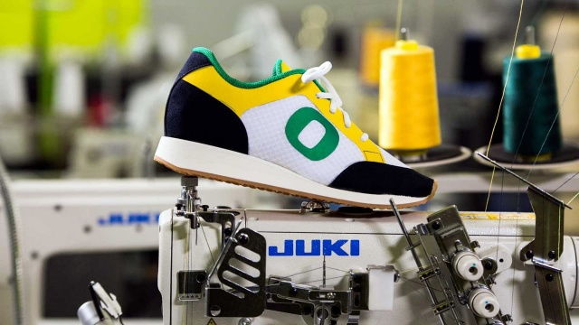 Photo of shoe with O on it being made in the SPM innovation lab